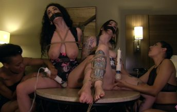 Tied Up & Hitachied Girlfriends - Arabelle's Busty Playground - Arabelle Raphael, Nenet Avril, Rizzo Ford, Nikki Darling