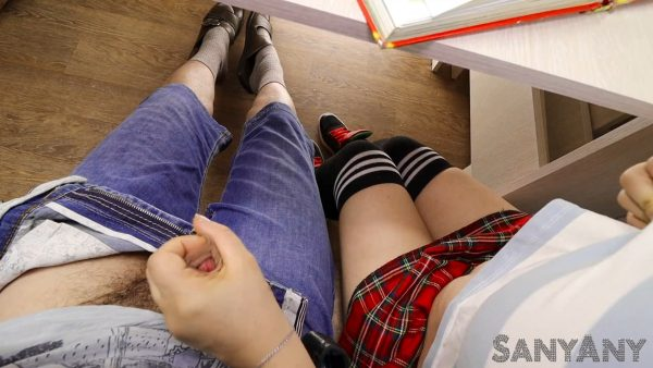 Schoolgirl Handjob Classmate Under The Table In A Literature Lesson – Sany Any