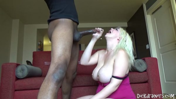 DickDrainers – Alice Frost – Busty Blonde Bitch Blows Big Black Dick