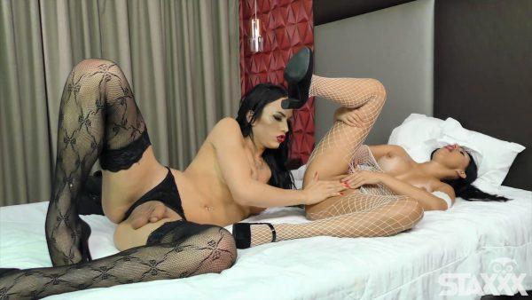 Ts Nataly Souza and Anny Fernandes – Brunette Slut Takes a Big Trans Cock