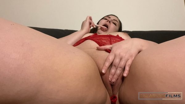 Treasure Films – Slut in Red Squirts from Big Dildo