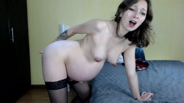 Mila mi – Horny pregnant girl Striptease Fingering