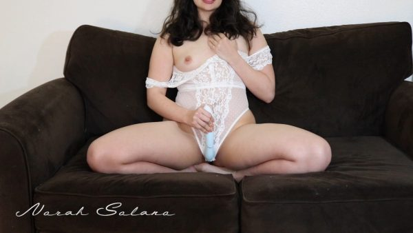 Norah Solano – Sexy Brunette in White Lace Body Suit